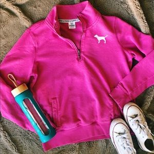 PINK Victoria's Secret Tops - Victoria's Secret Pink Love Pink Quarter Zip Up